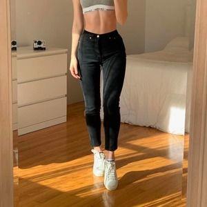 Brandy Melville Black Distressed Straight Jeans S